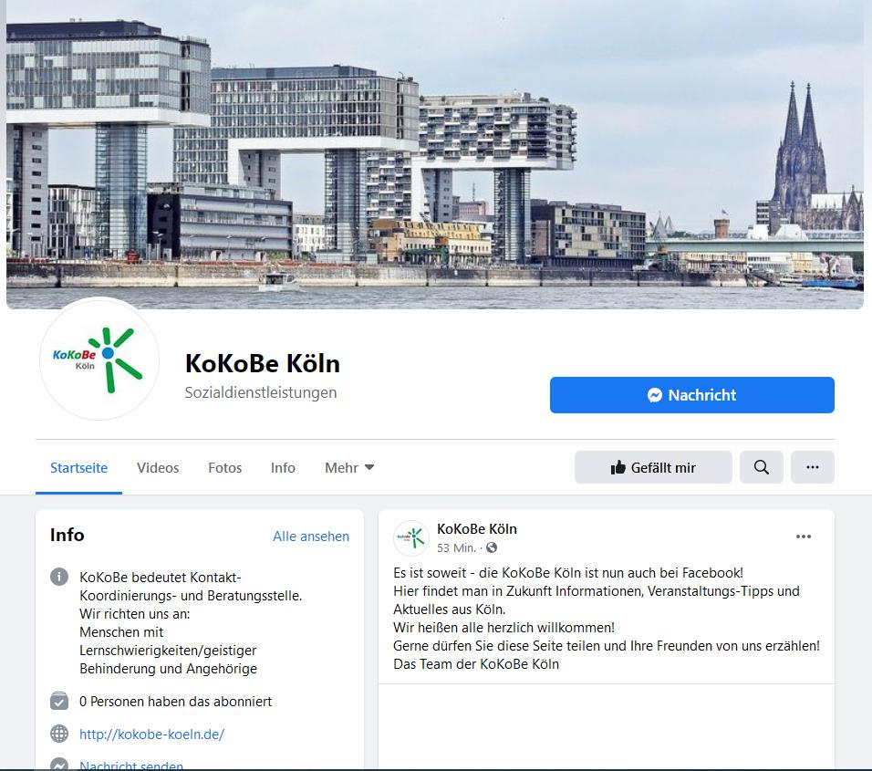 KoKoBe Köln jetzt auf Facebook
